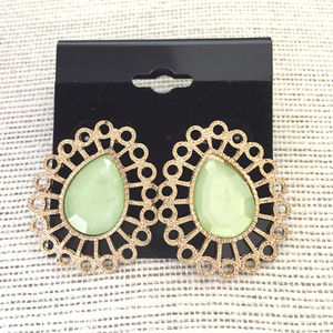 NEW Gold Tone Filigree and Lime Teardrop Earrings